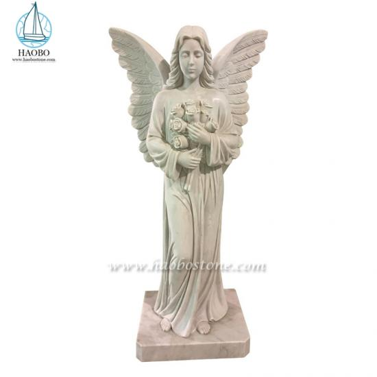 Marble Angel Holding Flowers Statue