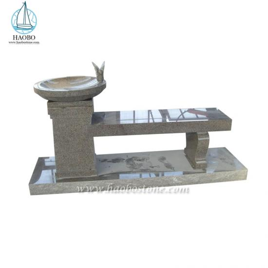 Grey Granite Bird Carved Bench