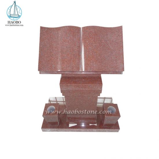 Red Granite Book Carved Gravestone