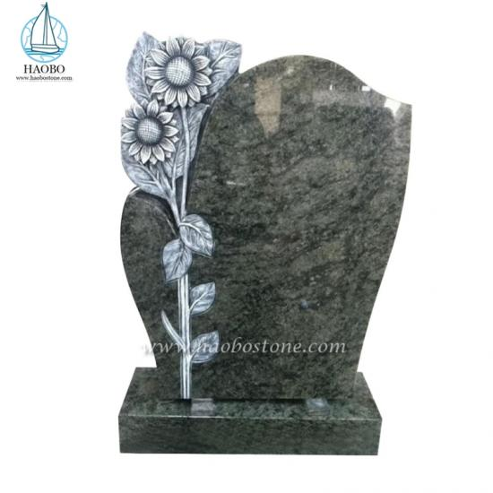 Antique Sunflower Carved Headstone