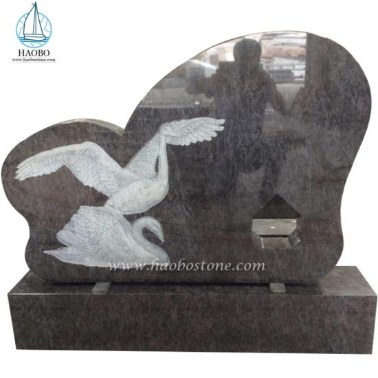 Bahama Blue Swan Carved Tombstone