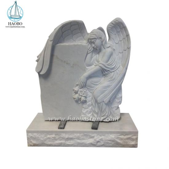 Han White Handcarved Weeping Angel Monument