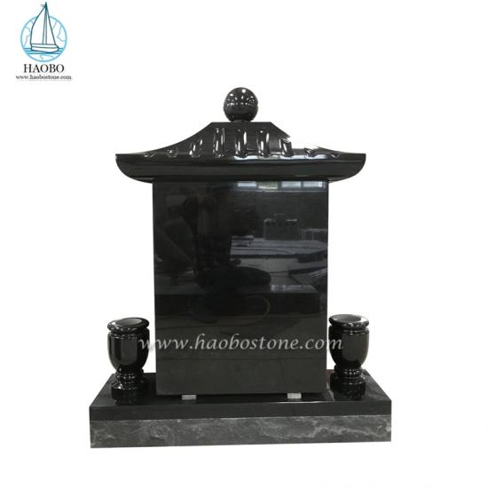 Asian Style Black Granite Funeral Tombstone