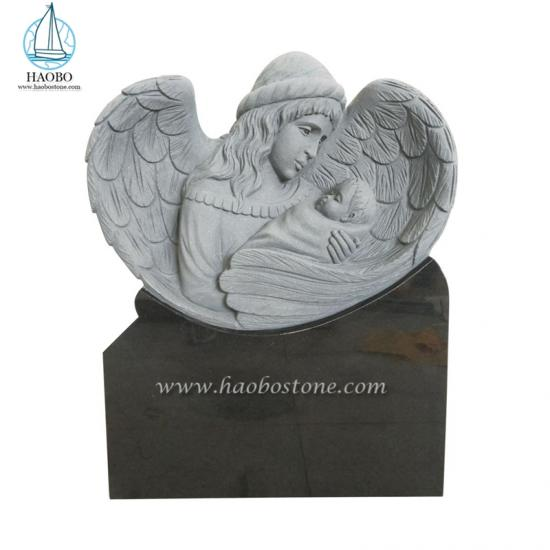 Black Granite Angel With Baby Carving Headstone