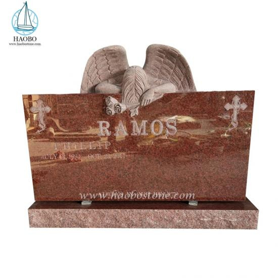 India red weeping angel headstone