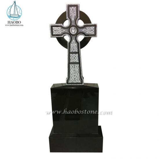 India Black Celtic Cross Carved Headstone