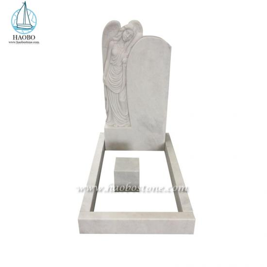 Standing Angel Carved Upright Headstone