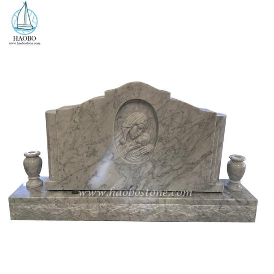 White Marble Virgin Mary Engraved Tombstone