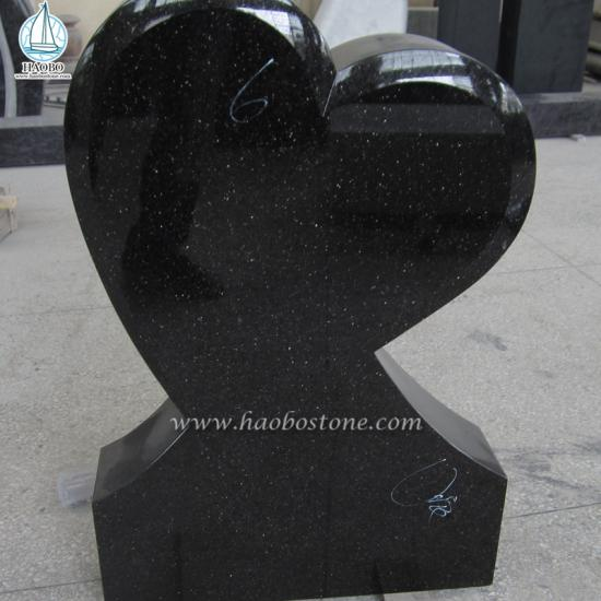 Granite Black Galaxy Granite Heart Gravestone