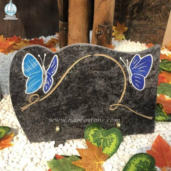 Granite Butterfly Gravestone Plaque