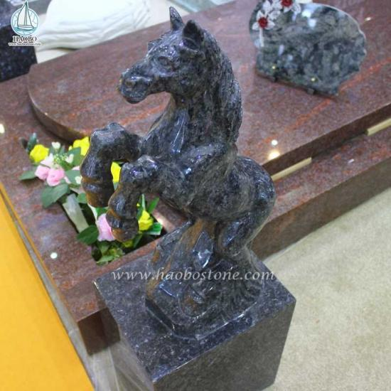 Blue Pearl Granite Horse Carving