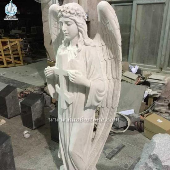 Marble Cross with Angel Sculpture