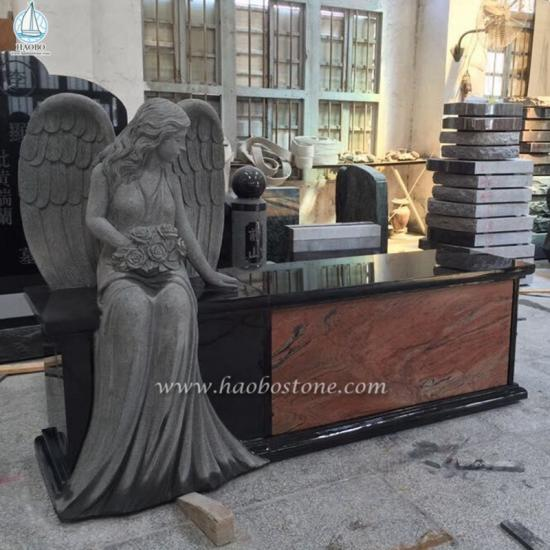 Granite Angel Statue Monument Bench