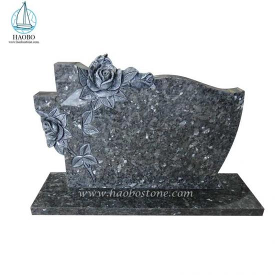 Blue Pearl Rose Carved Tombstone