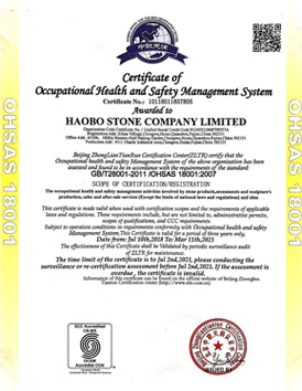 Haobo Stone get certificate of OHSAS18001
