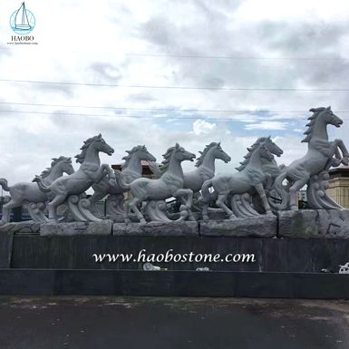 Eight Horse Sculpture produced by Haobo Stone.