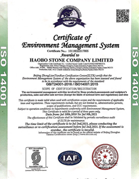Haobo Stone get certificate of ISO14001